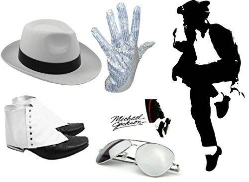 Unisex White King of Pop Silver Sequin Glove Adult Fancy Dress Parties Accessory