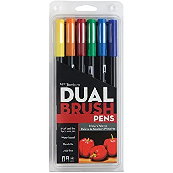 Tombow Dual Brush Pen Art Markers, Primary, 6-Pack
