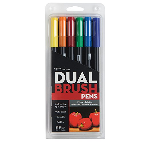 Tombow Dual Brush Pen Art Markers, Primary, 6-Pack (Tombow Permanent Pen)