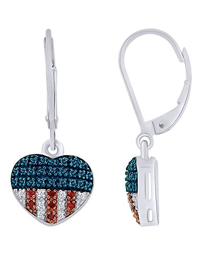- 14K White Gold Over Sterling Silver Natural Diamond American Flag Heart Drop Earrings (0.25 Cttw)