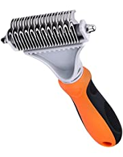 Pet Dematting Comb, TOPELEK Double Sided Grooming Brush Tool for Dogs & Cats, Stainless Steel Pet Safe Blades, Professional Pet Dematting Tools for Removing Undercoat Knots, Mats & Tangled Hair