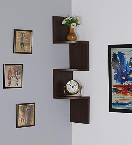 USHA Furniture RjKart Zigzag MDF Wall Mount Floating Corner Wall Shelves Rack - Walnut Laminated (Brown)