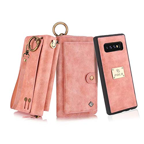 (Petocase Compatible Galaxy S10 Wallet Case, Multi-Functional PU Leather Zip Wristlets Clutch Detachable Magnetic 13 Card Slots 4 Cash Purse Protection Back Cover for Samsung Galaxy S10)