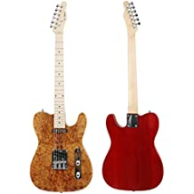 Leo Jaymz TL-100 electric guitar Heavy Elm Body with buckeye burl top in natural gloss color and with Transparent Wine Red Back