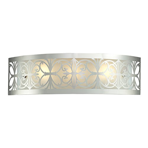 Elk Lighting 11432/3 25 by 7-Inch Willow Bend 3-Light Bathbar with Laser Cut Stainless Frosted Glass Shade, Polished Chrome Finish