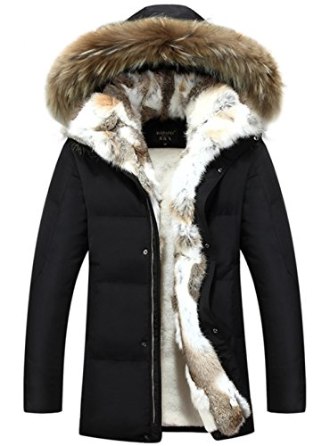 CYVVV Mens 90% Duck Down Hooded Luxurious Down Fur Coat Jacket Rex Fur Collar (US X-Large, Black) - Duck Arctic Jacket