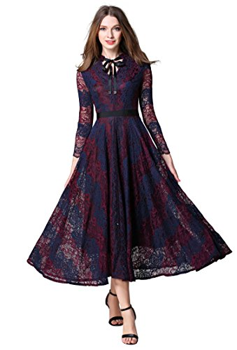 Women's Elegant V Neck 3/4 Sleeve Floral Lace Wedding Party Swing Maxi Dress,Red Blue,X-Large