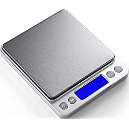 Digital Kitchen Scale 3000g / 0.1g ; Mini Pocket Jewelry Scale, Food Scale for Kitchen, 2 Trays, 6 Units, Auto Off, Tare…