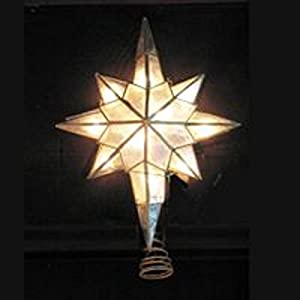 lighted capiz shell star of bethlehem christmas tree topper clear lights - Christmas Tree Topper Star