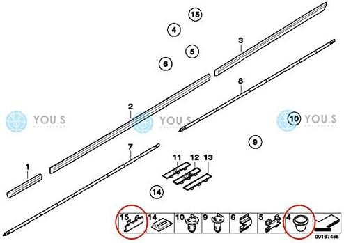 51137020031 7 mm 20 x YOU.S Original Montage Clips mit T/ülle Zierleisten Loch /Ø