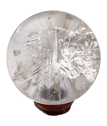 Yinglai 50mm Healing Natural Clear Quartz Rainbows Crystal Spheres Gem Stone Balls with Free Wood Stand