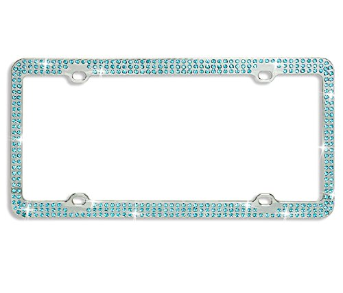 Gen Cr 129547 Rhinestone Triple Row Metal License Plate Frame With Crystal Caps  Aqua