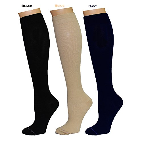 (3 Pairs Women's Knee-high Therapeutic Graduated Anti-Fatigue 8-15mmHg Compression Socks (W8-Pack10))