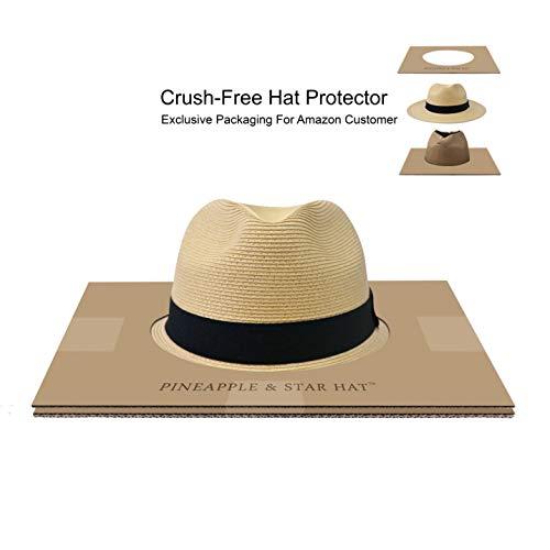 bba174ef2ce6a Pineapple Star Sun Straw Fedora Beach Hat Fine Braid UPF50+ for Both Women  Men
