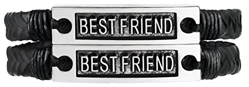 Sun Life Style Best Friends Bracelets for 2 - Braided with Metal Tag - Inspirational Jewelry for Boys, Girls, Men, Women (Best Friends) (Boy Girl Best Friend Jewelry)