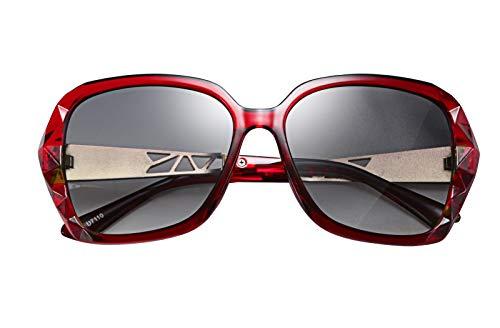FEISEDY Classic Polarized Women Sunglasses Sparkling Composite Frame B2289 (Glitter Glasses Red)