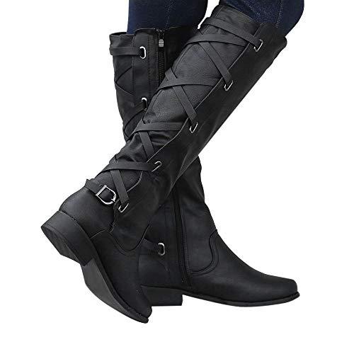 Hiver Chaussures Au Toe Bottes Dames Plat Dcontractes Confort Boucle Bout Cowboy Femmes Noir Solide Pour Martin Sunday77 Genou Adultes 8qqvw
