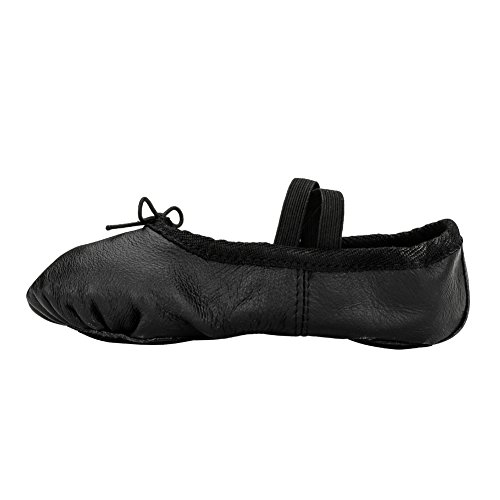 Woman's Classic Yoga Leather Ballet Dancing Shoes,Black,7 M US by MSMAX (Image #3)