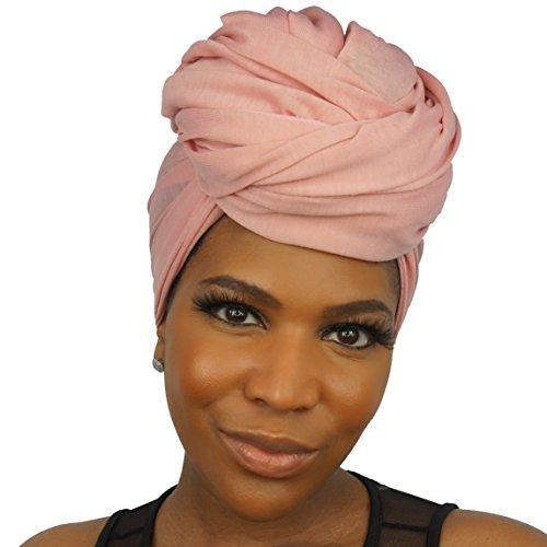 The Urban Turbanista Stretch Jersey Knit Head Wrap - Long Headwrap Scarf Tie by (70'' x 32'', Coral Pink) by The Urban Turbanista (Image #3)