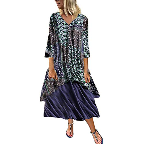 iHPH7 Women's O-Neck Patchwork Pleated Loose Swing Casual Midi Dress Vintage Floral Print Dress Long Sleeve Long Dress (XXXXL,3- Blue)