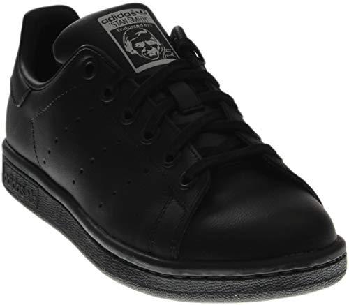 adidas Performance Stan Smith J Tennis Shoe (Big Kid), Black/Black/Running White, 4.5 M US Big Kid M20604
