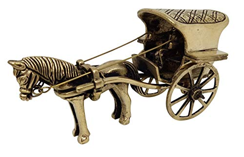 - Indian Handicrafts Paradise Adorable Brass Showpieces with Antique Look for Home Decorations Hand Made Home Decor Accents Vintage Horse Cart with a Rider and Carriage | Centerpieces for Coffee Table