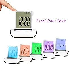 Zorvo Digital Alarm Clock Small Table Desk Clock 7 LED Color Changing Digital LCD Thermometer Calendar Alarm Clock Best Gift For Kids