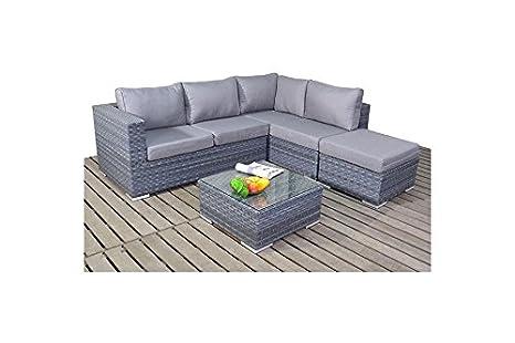 Moderno grigio piccolo giardino divano ad angolo retto, 2 ...