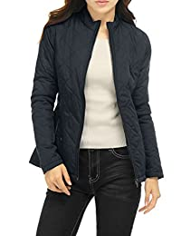 Allegra K Women's Long Sleeves Zippered Pockets Quilted Jacket