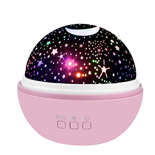 2-10 Year Old Girl Gifts, Wiki LED Halloween Night Lamp Relaxing for Kids Moon Star Toys for 2-10 Year Old Girls Gifts for 2-10 Year Old Gifts Girls Toys Age 2-10 Birthday Christmas Pink WKUSXKD04