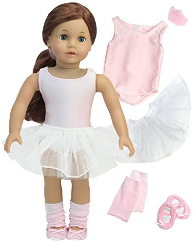 5-piece Ballet Outfit for 18 Inch Doll by Sophia's, includes Leotard, Tutu, Leg Warmers, Ballet Slippers & Hair Scrunchie Perfect for your 18 Inch American Ballet Doll & More! Five Piece Ballerina Set (Doll Ballerina American)