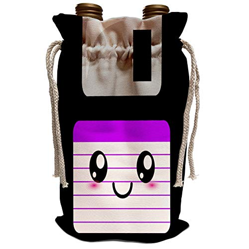 3dRose InspirationzStore Cute Floppy Disks - Kawaii Cute Happy Floppy Disk - old school computer - Japanese Anime Smiley cartoon in purple - Wine Bag (wbg_57454_1)