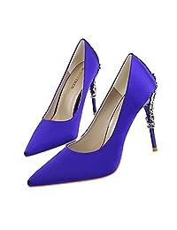 MAKEGSI Sexy Women Pointy Toe High heels Pumps Flower Carved Metal Heels Wedding Brial shoes