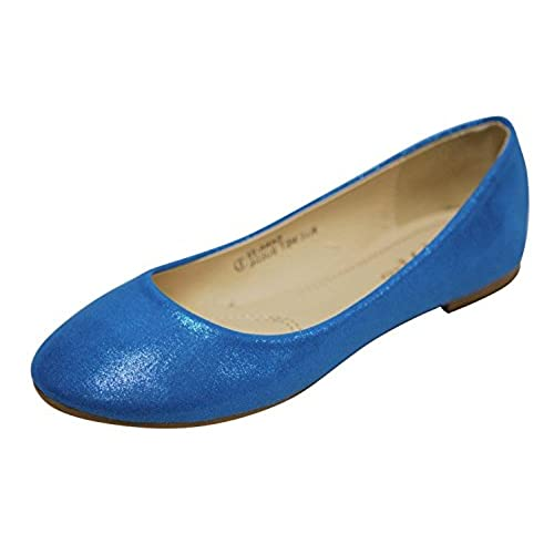 hot Bella Marie Women's Classic Sparkle Shimmer Glitter Closed Toe Slip on Ballet Flat