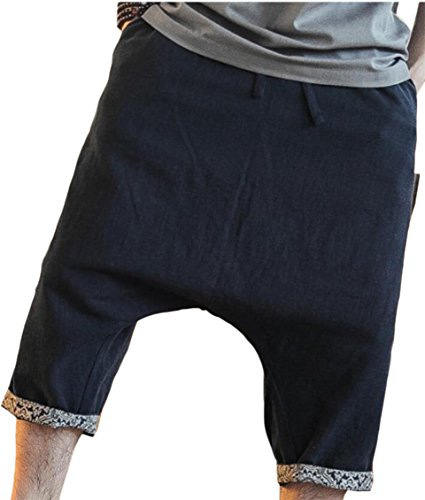 GenericMen Generic Mens Summer Pure Color Personalized Swap File Capris Black XL