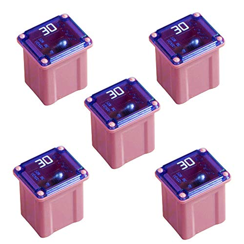 5 Pack Automotive Low Profile Mini Jcase Fuse 30 Amp Fuse Assortment for Ford, Chevy/GM, Nissan, and Toyota Pickup Trucks, Cars and SUVs