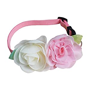 Puppy Soft Suede Flower Collars for Small Dogs Adjustable (M)