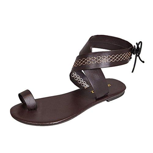Taille Chaussures Sandales Toe Confort Tongs Casual Boho Marron Antidérapant Sandales Peep Plage Mode Sandales Plus Été Chaussures Gladiator Élégant 43 Femme 36 Plates Roma Respirant Juleya vwxaqIYdv