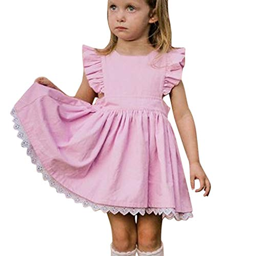 WOCACHI Toddler Kids Baby Girls Lace Dresses Ruffle Flutter Sleeve Back Button Decor Solid Color Mini Skirt Pleated Swing Outfits Clothes Sunsuit Onesies 2019 Summer Daughter Birthday Party Sleepwear (Best Baby Car Seats Canada 2019)