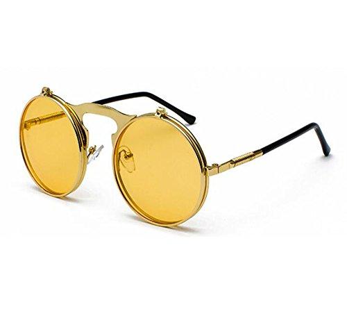 UV400 protección Classic de Amarillo Oro Metal sol redondo marco Flip lente Frame Retro Steampunk de de gafas qxO6n8PwR