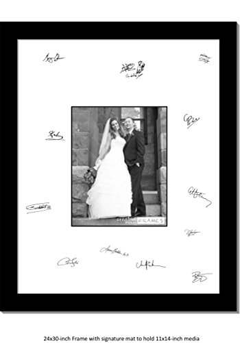 CreativePF [11x14-24x30bk-w] Signature Frame - Photo Frame with White Mat Holds 11x14-inch Media Including Scratch Resistant Acrylic, Installed Wall Hangers and Wire Kit