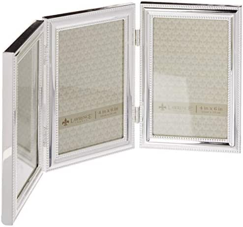 Lawrence Frames Hinged Triple (Vertical) Metal Picture Frame Silver-Plate with Delicate Beading, 4 by 6-Inch
