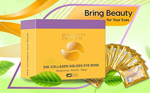 41KYWCMz4EL - Under Eye Patches, Eye Mask, Gold Under Eye Mask, Gold Eye Mask, Eye Pads, Collagen Eye Patch, JUYOU Eye Patch For Anti-wrinkles, Puffy Eyes, Dark Circles, Fine Lines Treatment (30Pairs 24k Gold)