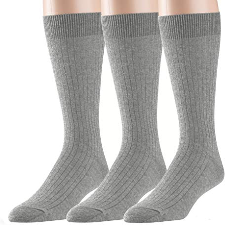 (EMEM Apparel Men's Big and Tall King Size Casual Soft Ribbed Cotton Knit Classic Mid Calf Crew Dress Hosiery Socks 3-Pack Light Grey 13-15)