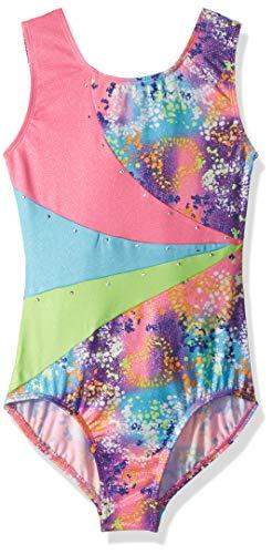 (Jacques Moret Girls' Big Fun Gymnastics Leotard, tie dye Hearts Printed Color Block, Large)