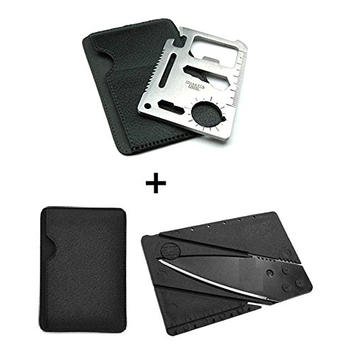 BlueSunshine 11 Function Black Tungsten Steel Credit Card Size Survival Kit Multi Tool with 1 Credit Card Size Folding Knife with Packaging (Card Credit Number 1)