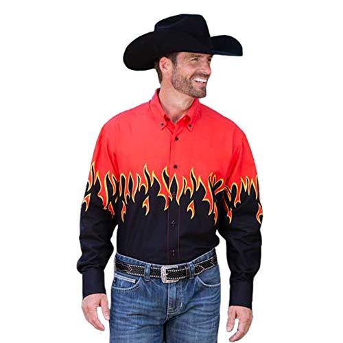 (Panhandle Mens Flames Border Shirt L Red )
