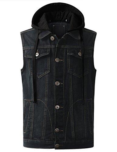 URBANCREWS Mens Hipster Hip Hop Hooded Washed Denim Vest Jacket Black Large by URBANCREWS