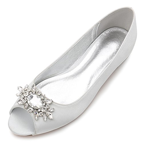 MarHermoso Womens Peep Toe Flats Elegant Satin Wedding Bridal Ballet Silver