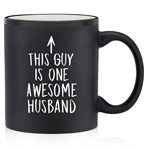 One Awesome Husband Funny Mug - Best Anniversary, Birthday or Valentines Day Gifts For Husband, Men, Him - Unique Present Idea From Wife - Fun Novelty Coffee Cup For the Mr, Hubby -11 oz Matte Black (Best Valentines Gift Ideas)